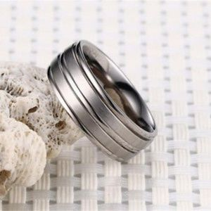 Stainless Steel Silver Finish Men's Wedding Band